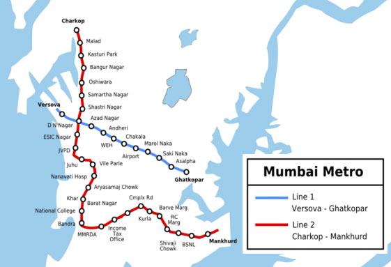Mumbai Metro Map Mumbai Metro Rail Map