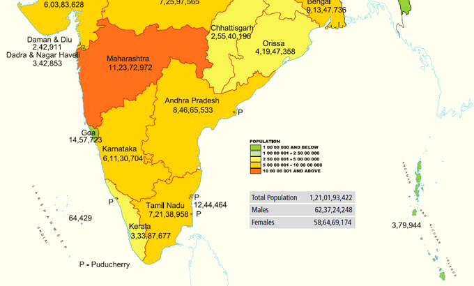 India Population Map 2011