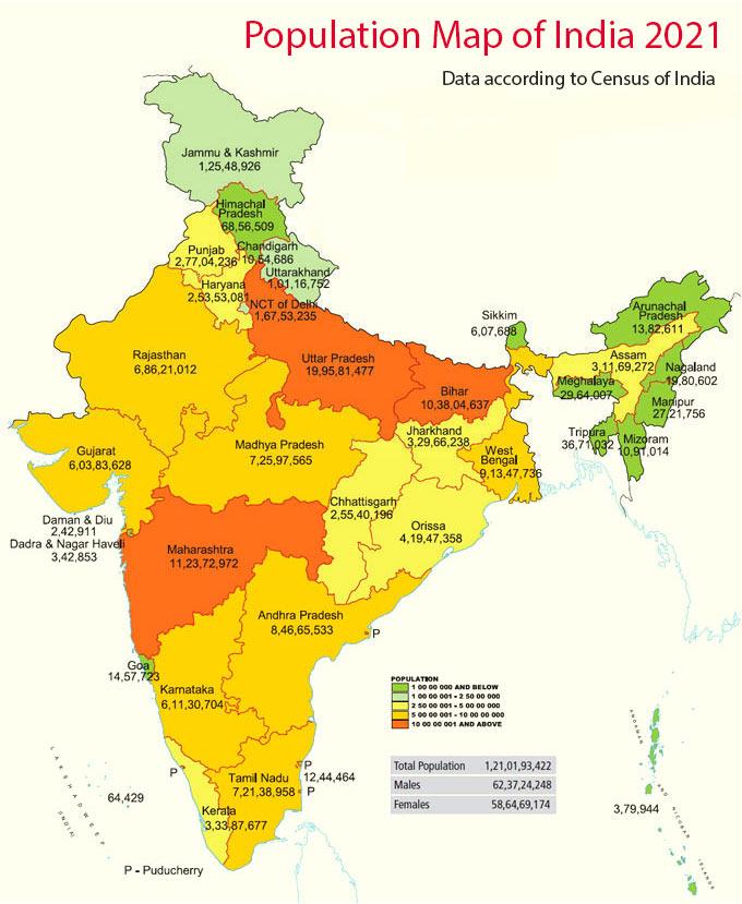 Population Map Of India Population Map of India 2019   India Population Map